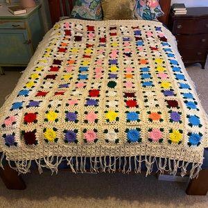 Vintage Boho Handmade Floral Crochet Afghan Throw